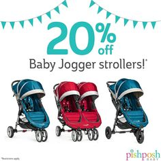 SALE! Get 20% off select Baby Jogger strollers through 3/31/16, while supplies last! Restrictions apply. See our site for details.   http://www.pishposhbaby.com/baby-jogger.html