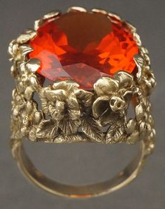 Massive 14K Gold & Strell Padparadscha Sapphire, Flower Dome, Strellman Ring