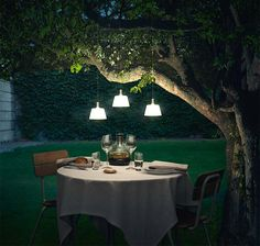 Dining al fresco in a romantic atmosphere with outdoor lighting
