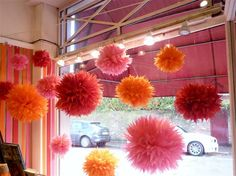 paper pom poms for weddings, events and decoration