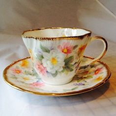 Staffordshire England Queen's China English Charm Floral Cup Saucer Set White #crownstaffordshire
