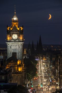 Moon along Princes Street