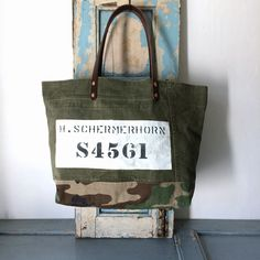 40 or 50's US ARMY duffle bag remake tote bag IND_BNP_0094_USMC W50cm H32cm D14cm 持ち手47cm