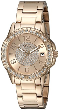 GUESS Women s U0779L3 Crisp Rose Gold-Tone Watch with Date Function --  Check out fbe990c3dc3