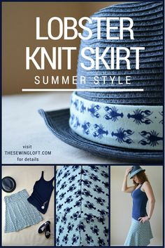 RBD Knit Love Blog Tour: Lobster Knit Skirt and Hat: The Sewing Loft #rileyblakedesigns #lobster #nautical #jerseyknitfabric #thesewingloft