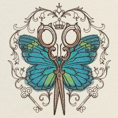Parisian Butterfly Scissors design (UT17954) from UrbanThreads.com