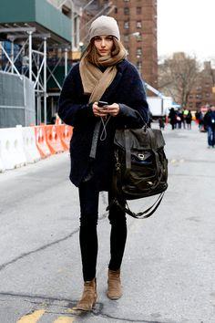 Navy, black + beige - Andrea Diakonu // Elle Japan