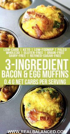 3-Ingredient Bacon & Egg Breakfast Muffins: low-FODMAP, paleo, keto, Whole30 compliant, low-carb, gluten-free, grain-free, dairy-free, and sugar-free! 0.4g net carbs per serving!