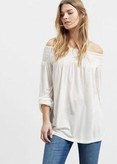 Off shoulder t-shirt - T-shirts Plus sizes | Violeta by MANGO Indonesia