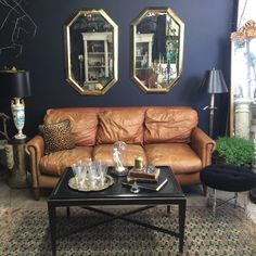 The post Vintage british tan leather sofa. 2019 appeared first on Sofa ideas. Dark Walls Living Room, Living Room Color Schemes, Living Room Carpet, Living Room Sofa, Home Living Room, Vintage Leather Sofa, Tan Leather Sofas, Leather Corner Sofa, Vintage Sofa