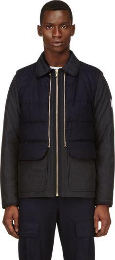 Moncler Gamme Bleu: Blue Wool Vest Quilted Jacket | SSENSE