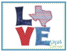 LOVE Texas Applique Design