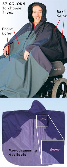 Rain cape for wheelchair users.