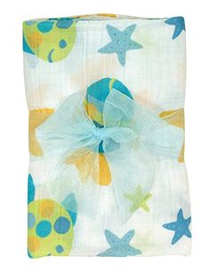 Stephan Baby Go Fish Cotton Muslin Swaddle Blanket, Blue ...