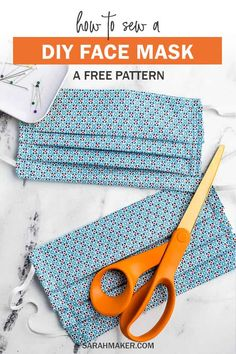 A free pattern for a DIY fabric face mask to sew for hospitals. This fabric mask has a standard pleated design with an optional pocket for additional insert filter material. Use elastic ear loops or fabric ties. face mask sewing pattern with filter free Small Sewing Projects, Sewing Projects For Beginners, Sewing Tutorials, Sewing Hacks, Sewing Crafts, Sewing Tips, Sewing Machine Projects, Hair Tutorials, Fabric Crafts