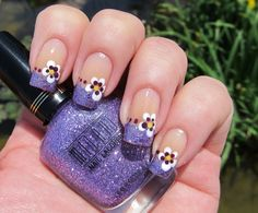 french tips, glitter and dotting for pansies nail art design