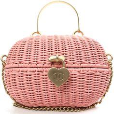 Chanel Pink Rattan Basket Shoulder Bag Rare $965.00 - sold : (