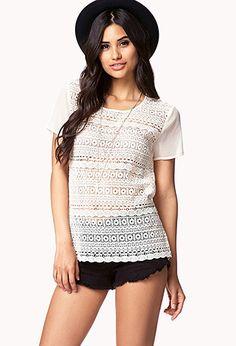 Geo Pattern Crochet Top | FOREVER 21 - 2042271676