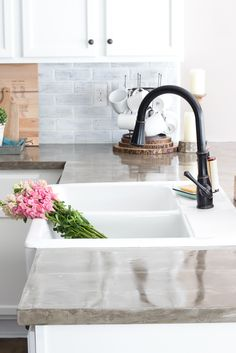 IKEA Farmhouse Sink Review   blesserhouse.com - What to know before buying the Ikea farmhouse sink Domsjo- how well it cleans, how functional it is, and if it's the right investment for your kitchen.