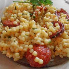 Alföldi rakott tarhonya | Nosalty Fusion Food, Paella, Lunch Recipes, Starters, Entrees, Noodles, Bacon, Grains, Rice