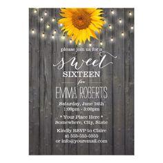 Sweet Sixteen Birthday Party Invitation Barn Wood Sunflower & String Lights Sweet 16 Card