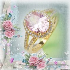 18kt GF Pink Sapphire Ring w White Pave Sapphires Gorgeous 18kt yellow gold filled ring, center stone is a 5ct oval cut pink sapphire, surrounded by a halo of pave set white sapphires.  Split shank has two rows of pave set white sapphires on both sides of center stone Jewelry Rings