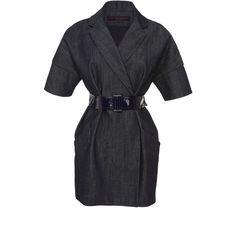 Martin Grant Short Sleeve Men's Coat ($1,700) ❤ liked on Polyvore featuring outerwear, coats, denim coat, black denim coat, black coat, short sleeve coat and martin grant coat