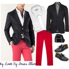 """""""Red pants for him"""" by Look By Amina Allam"""
