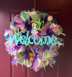 Welcome Spring Easter Owl Deco poly mesh wreath Summer Ready to Ship by KristianaWreaths on Etsy https://www.etsy.com/listing/225127421/welcome-spring-easter-owl-deco-poly-mesh