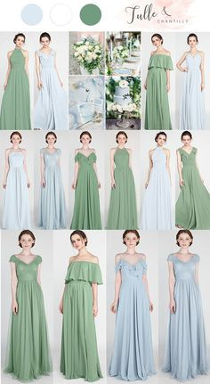 moss geen and pale sky blue bridesmaid dresses Wedding Entourage, Wedding Suits, Wedding Bridesmaids, Wedding Dresses, Bridesmaid Dress Shades, Wedding Color Pallet, Best Wedding Colors, Bridal Gowns, Chiffon Gown
