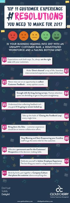 Top 11 Customer Experience Resolutions you need to make for 2017 #infographic #business #customerexperience #smallbusiness #entrepreneur #marketing