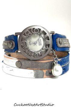 Dallas Cowboys inspired Wrap Watch, Womens leather watch, Bracelet Watch,  Navy, Silver, White