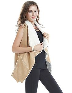 Women Sleeveless Casual Basic Sherpa Vest Coat M TAN. The Faux Suede fabric is 100% polyester and the faux sherpa fabric is 100% polyester. Dry clean recommended. The vest features front and is meant to be worn open and has no snap closures. The vest has a long length that falls below the hips. Keeps warm and cozy. Great for winter & fall. Size: Size Chart is not our size. below the product description ordering to ensure accurate fitting (Note:The Generic Amazon Size Chart is not our size).