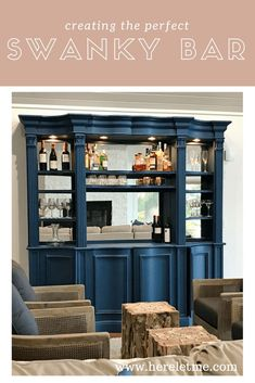 Chalk Painting Furniture can be equal parts rewarding and a risky business. See how I turned this china hutch from tired and traditional to the perfect swanky home bar Blue Painted Furniture, Chalk Paint Furniture, Rustic Furniture, Diy Furniture, Furniture Refinishing, China Hutch Redo, Paint Bar, Milk Paint, Homemade Chalk Paint