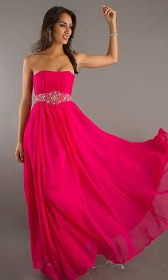 fuchsia strapless party dresses for women