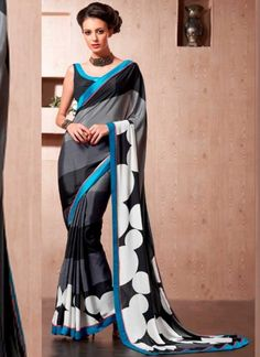 Buy Silk Crepe Casual Black Grey Printed Saree Online  #Sarees #Designer #PrintedSarees #DesignerSarees #HalfSarees  http://www.angelnx.com/