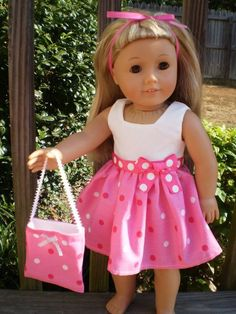 American Girl Doll Dress and purse Pink by sassydollcreations