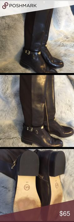 MK Arley Riding Boots MK Arley Riding Boots, Dark Brown, They are a size 8 but in my opinion MK boots run small and this pair fits more like a 7 1/2. They are in very good used condition. Brown leather with a brown stretchy elastic material at the back of the calves.     ***please note that although they are size 8 they fit more like a 7 1/2 Michael Kors Shoes Heeled Boots