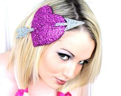 Hot Pink Heart Fascinator Hot Pink and Silver by JanineBasil, £61.00
