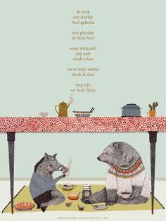 Dutch poem for kids by Nannie Kuiper with illustration by Lieke van der Vorst. Cute Bear Drawings, Animal Drawings, Dutch Artists, Cute Bears, Children's Book Illustration, Word Art, Cool Words, Childrens Books, Illustrators
