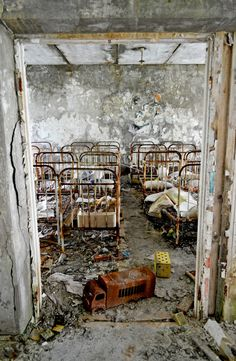 cots in the former nursery in the abandoned town of Prypiat, Ukraine