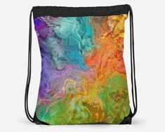 Drawstring School Book Bag with Abstract Art, Modern Lined Cinch Sack, Gym Bag, Contemporary Lightweight Travel Tote, Carnival Cheap School Bags, Cinch Sack, Everyday Items, Travel Tote, Printed Bags, Digital Prints, Gym Bag, Abstract Art