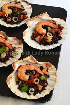ITALIAN FOOD -  RISO VENERE CON GAMBERETTI E POMODORINI ( BLACK RICE WITH SHRIMP AND CHERRY TOMATOES)