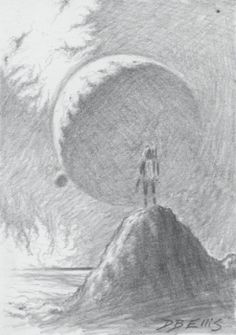 Contemplating The Infinite No. 21     original sci fi by dbellis, $5.15