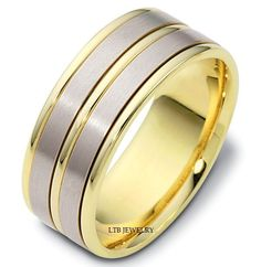MENS 10K TWO TONE GOLD WEDDING BAND RING 8MM #LTBJEWELRY