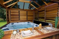 34 Perfect Outdoor Hot Tub Privacy Ideas At this time you can let your infant enjoy a genuine baby tub, which you don't need to be worried about uncomfortable bumps. Secondly, always think about your child's tub has to be skid proof. Hot Tub Pergola, Hot Tub Garden, Hot Tub Backyard, Jacuzzi Outdoor, Pergola Roof, Garden Pool, Hot Tub Privacy, Outdoor Privacy, Whirlpool Pergola