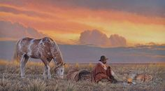 "AC - ""ESPERANDO LA NOCHE"" Western Wild, Western Art, Rio Grande, North And South America, Horses And Dogs, Traditional Paintings, Cowboy And Cowgirl, Horse Art, Vincent Van Gogh"