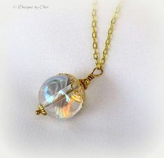 Mystical Crystal Ball Pendant Long Gold Necklace by DesignsbyCher