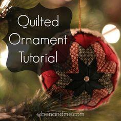 Homemade Quilted Christmas Ornament tutorial. #benandmeblog
