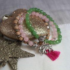 Lucky Elephant Rose Quartz Bracelet